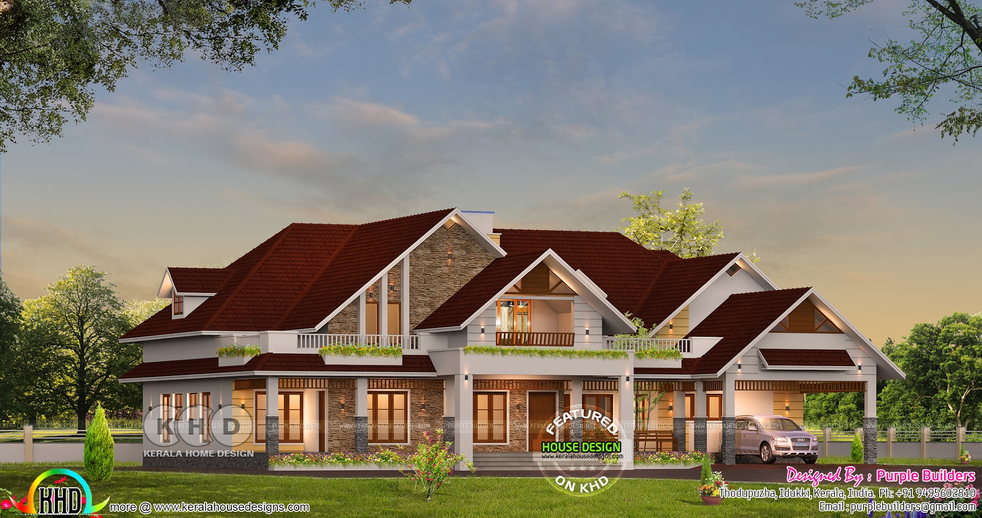 Sloping roof 4 bedroom bungalow home in kerala