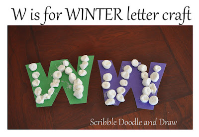fun alphabet craft for W using marshmallows
