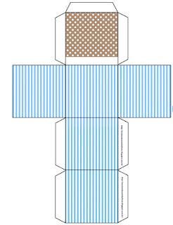 Cajas Cubo  de Celeste y Marrón para imprimir gratis.