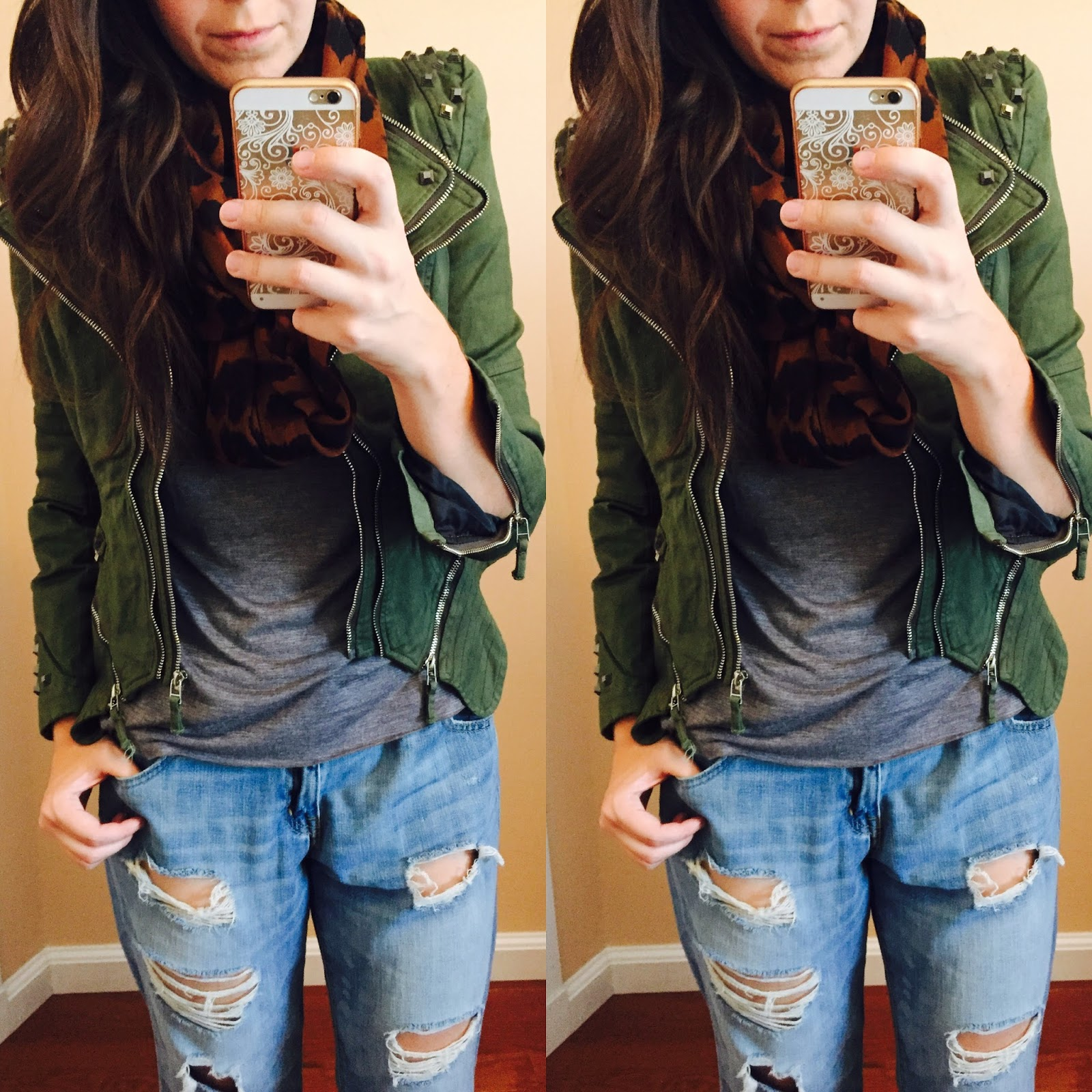 green military jacket outfit, green studded blazer, green studded jacket, green studded shoulder denim blazer, how to style, how to style a green jacket, lookbook store,
