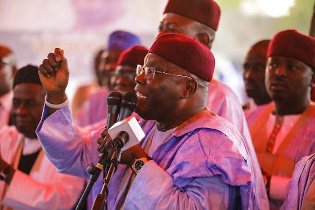 Atiku speaking during the rally in Borno