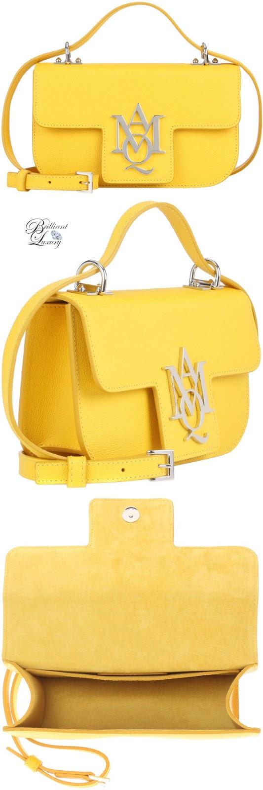 Brilliant Luxury♦Alexander McQueen Insignia crossbody leather satchel in yellow