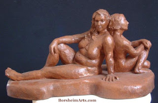 Waiting and Wondering Front View Terra-cotta Sculpture Two Women