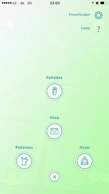 Die vier Menüpunkte vom Pokémon Go Inventar: Oben Pokédex, mittig der Shop, links unten die Pokémon Sammlung, rechts unten Items. Alles auf einem hellgrünen Hintergrund.
