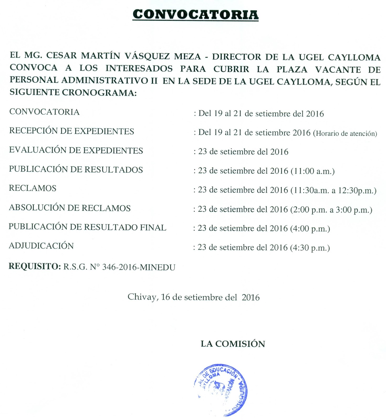 Convocatoria para plaza de personal administrativo ii sede Convocatoria para las plazas docentes 2016
