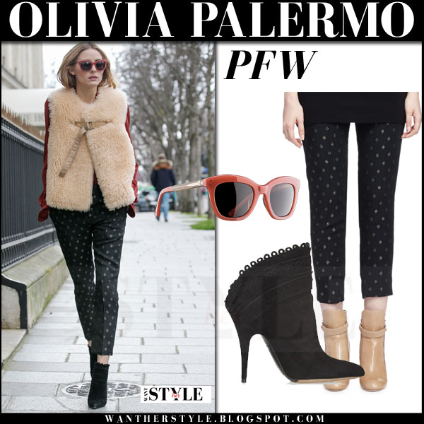 Olivia Palermo in cream shearling chloe vest and black printed trousers paris fashion week chloe front row what she wore