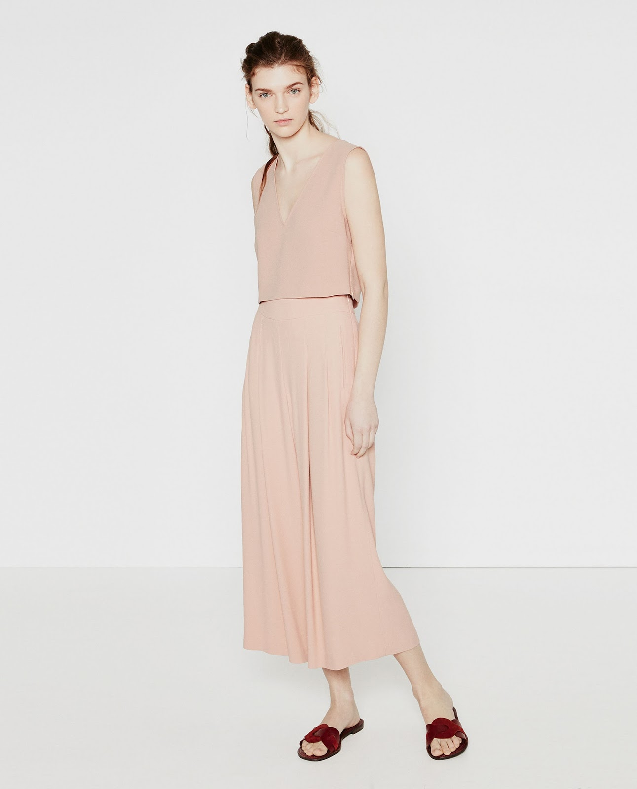 Blush co-ord set with flowing pants and crop top from Zara