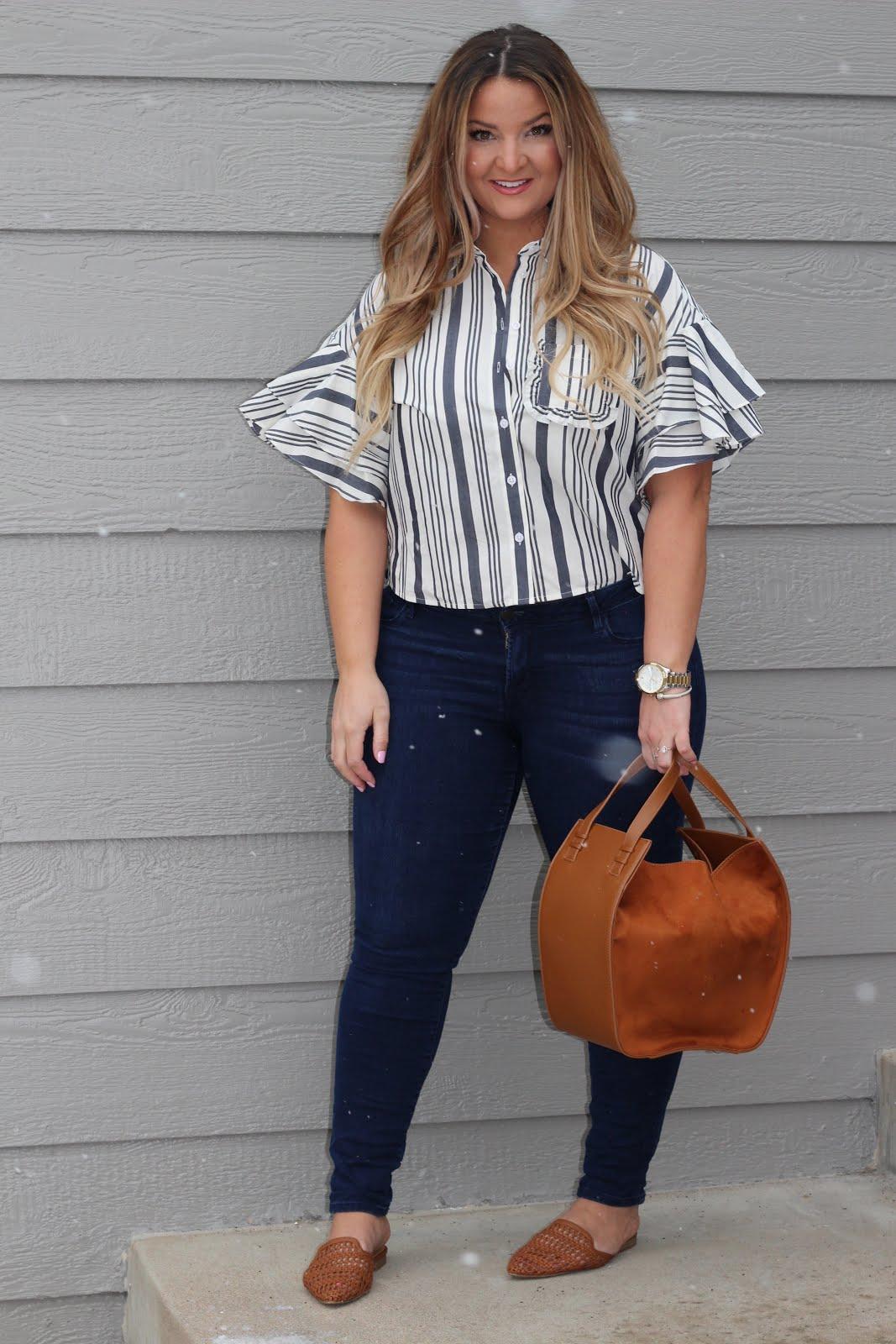Striped Crop Top by popular Denver fashion blogger Delayna Denaye