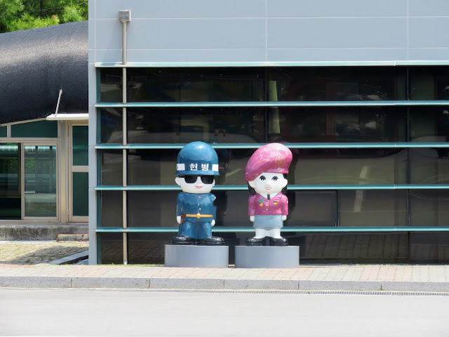 Cartoonish police sculptures in the DMZ in South Korea