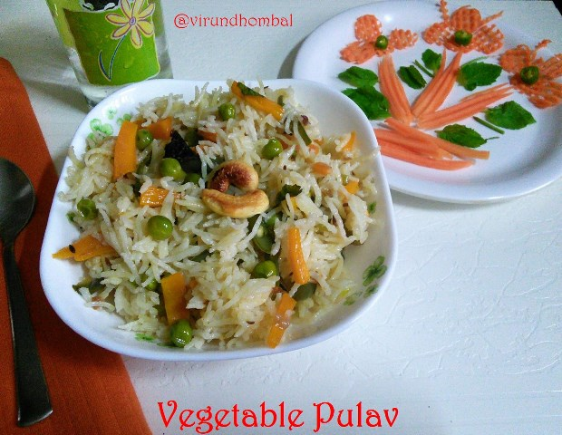 Vegetable pulav is one of the easiest rice prepared within 15 minutes. You can prepare this rice for your kids lunch box or any dinner party. In this pulav, the flavours get even better as it cools down. Sometimes this kind of simple pulav with fresh vegetables was so easy to prepare without any much effort.