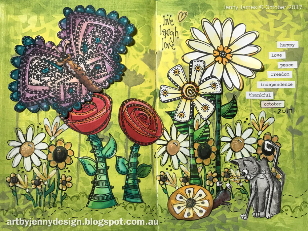 finished artwork from Art by Jenny using Dylusions stamps and acrylic paint