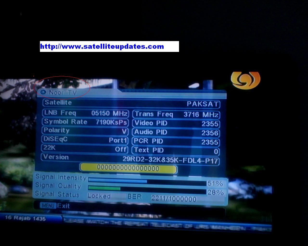 Frequency Tv New Channel Noor Tv Started On Paksat 38east Satellites Updates