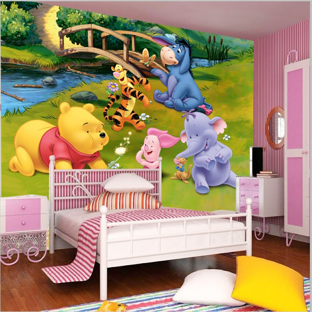 Winnie the Pooh wall mural 3d wallpaper children girls room bedroom cartoon baby