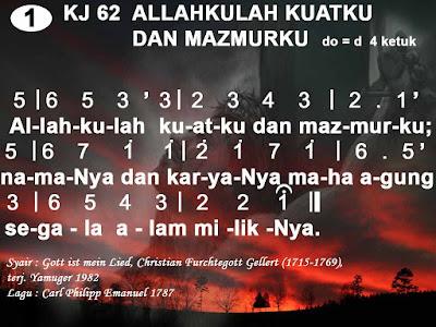 Lirik dan Not Kidung Jemaat 62 Allahkulah Kuatku dan Mazmurku