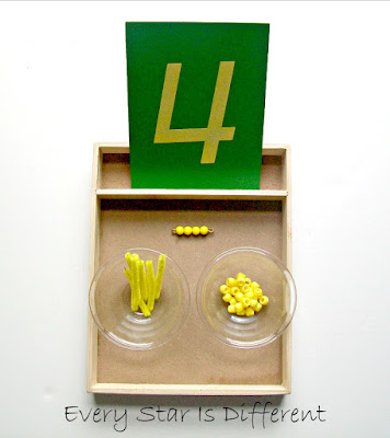 Number Four with Montessori Yellow Bead Bar Activity for Kids