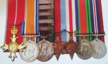 Robin W.G. Stephen - Medal Grouping - left to right:  OBE, War Medal, India General Service Medal, 1939-1945 Star  France & German Star, Defence Medal, War Medal 1939-1945  (From Medal News - May 2014)