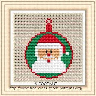 Mini Christmas Ornament 8, Free and easy printable cross stitch pattern