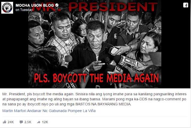 Uson Urges President to Boycott Media and says 'Sinisira nila ang iyong imahe.' READ HERE!