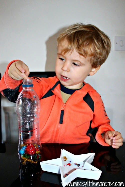How to make a firework sensory bottle.  Activity ideas for babies and toddlers.  Great for bonfire night or new years eve celebrations.