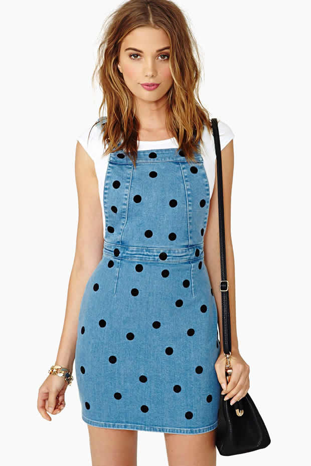 Multi-Manager Hedge Fund - Denim Polka Dot Overall Dress