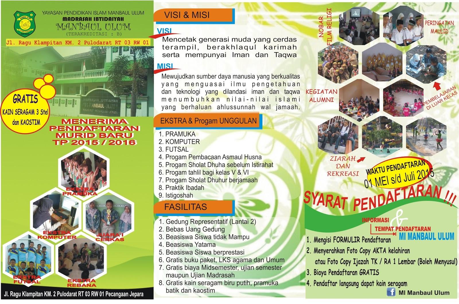 Madrasah Ibtidaiyah Manbaul Ulum Contoh Desain Brosur Penerimaan
