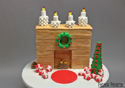 cake design, gâteau de Noël, gâteau cheminée, pâte à sucre, gumpaste, fireplace cake, gâteau design, gâteau à thème, patissi-patatta