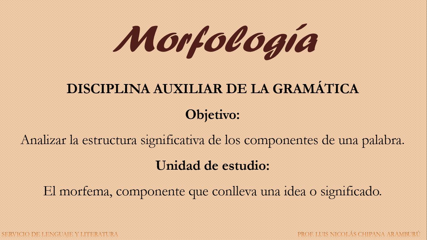 Servicio Educativo En Lenguaje Y Literatura Morfología La