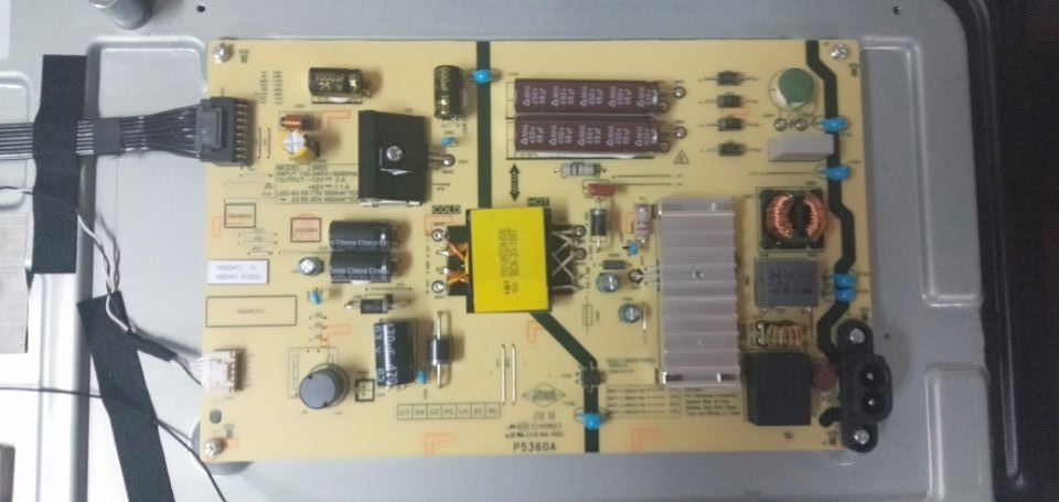 Skyworth 49E6, 49E6D, 49E3, 49E3D, 43E6, 43E6D, 43E3, and 43E3D model power supply board.
