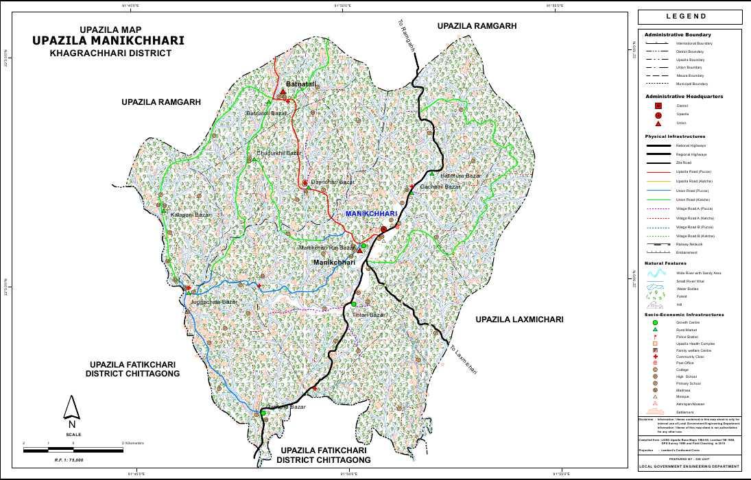Manikchari Upazila Map Khagrachari District Bangladesh