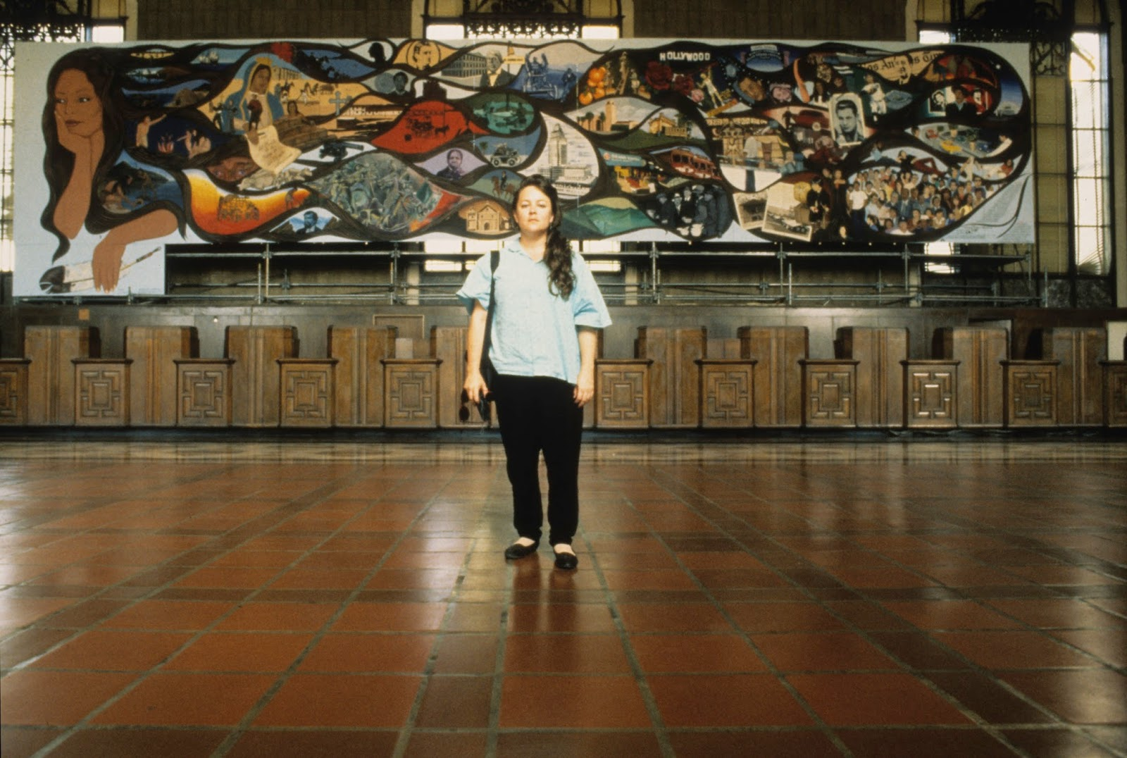 Barbara Carrasco's massive L.A. History: A Mexican Perspective (1981) never made it to its designated location at 330 South Broadway in downtown Los Angeles due to its honest portrayal of Los Angeles's history. Today it is in storage but will be brought to light again in the exhibition.