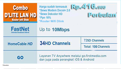 PAKET FIRST MEDIA COMBO DLITE  HD + ROUTER WIFI DLINK