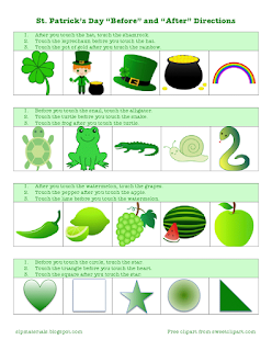 ms lane 39 s slp materials receptive language following temporal directions st patrick 39 s day theme. Black Bedroom Furniture Sets. Home Design Ideas