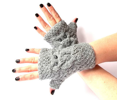 Knit Owl Fingerless Gloves