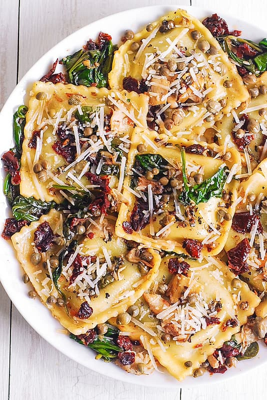 Italian Ravioli with Spinach, Artichokes, Capers, Sun-Dried Tomatoes