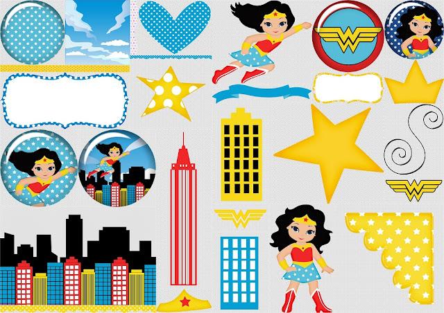 Mujer Maravilla: Kit Gratis para Scrapbook.