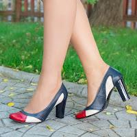 Pantofi dama Piele Aviva albastri cu toc gros • modlet