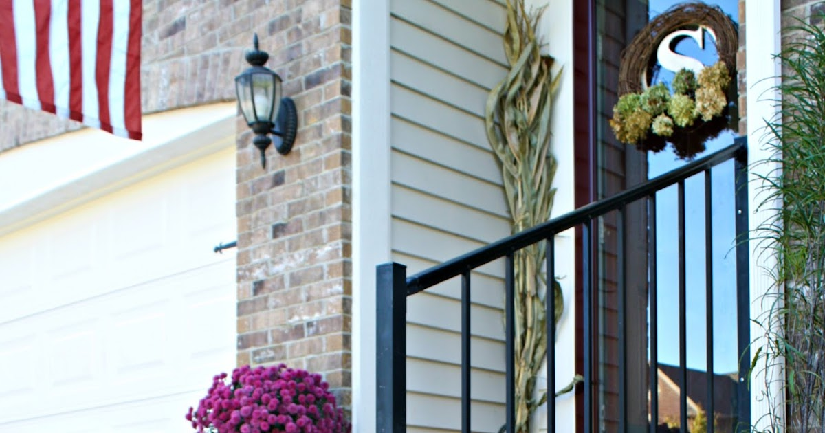 Our fall front porch and new landscaping from thrifty for Home decor 41st