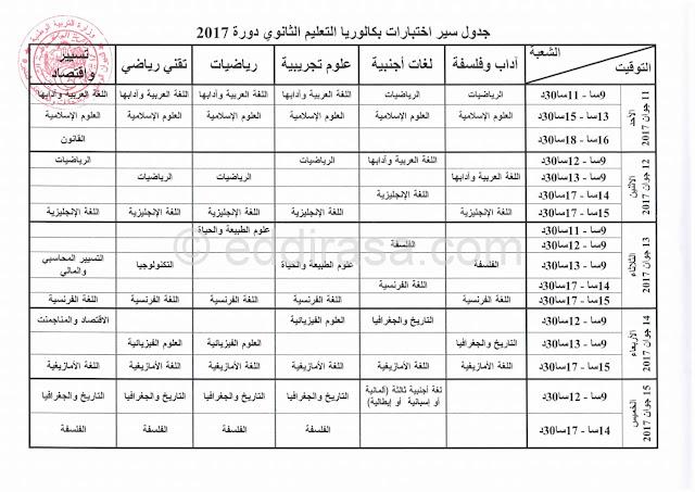 برنامج سير امتحانات بكالوريا 2017 جميع الشعب بدولة الجزائر