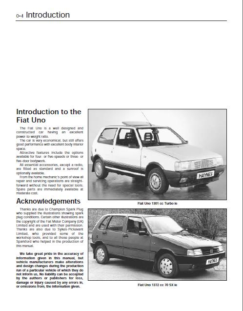 Haynes Fiat Uno Service And Repair Manual