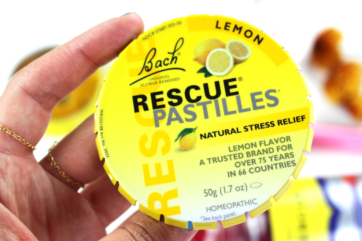 This is a close up of the Rescue Remedy Pastilles, and these are specifically lemon flavored.