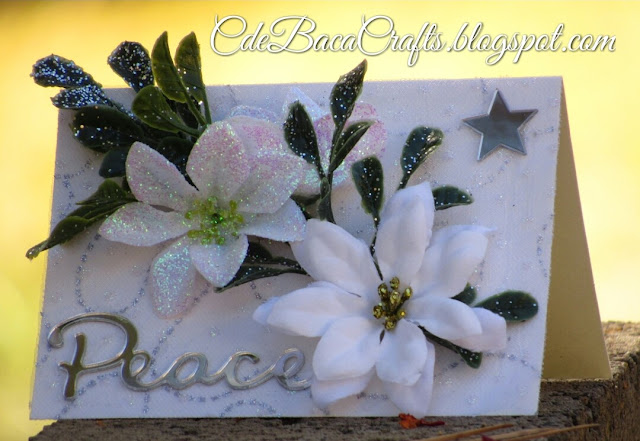 Christmas card with mirrors and flowers for the holidays featured on CdeBaca Crafts blog.