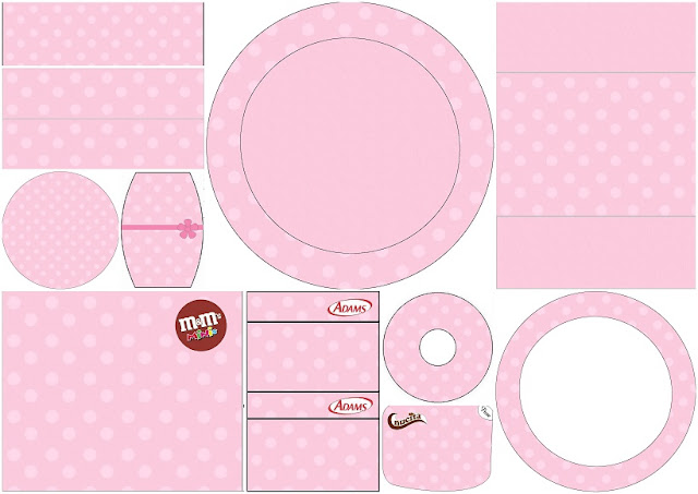 Rosa con Lunares Rosa: Etiquetas para Candy Buffet para Imprimir Gratis.