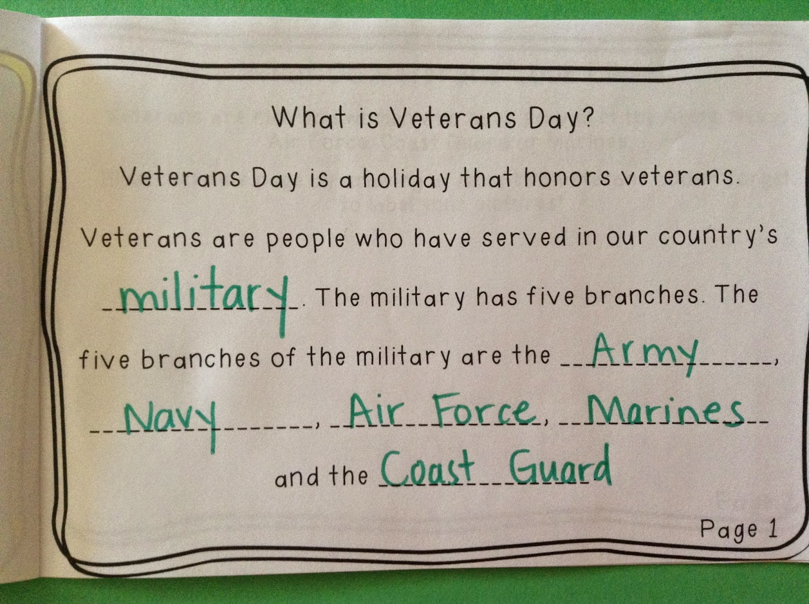 Grasty S 2nd Grade Goo S Veterans Day Activities