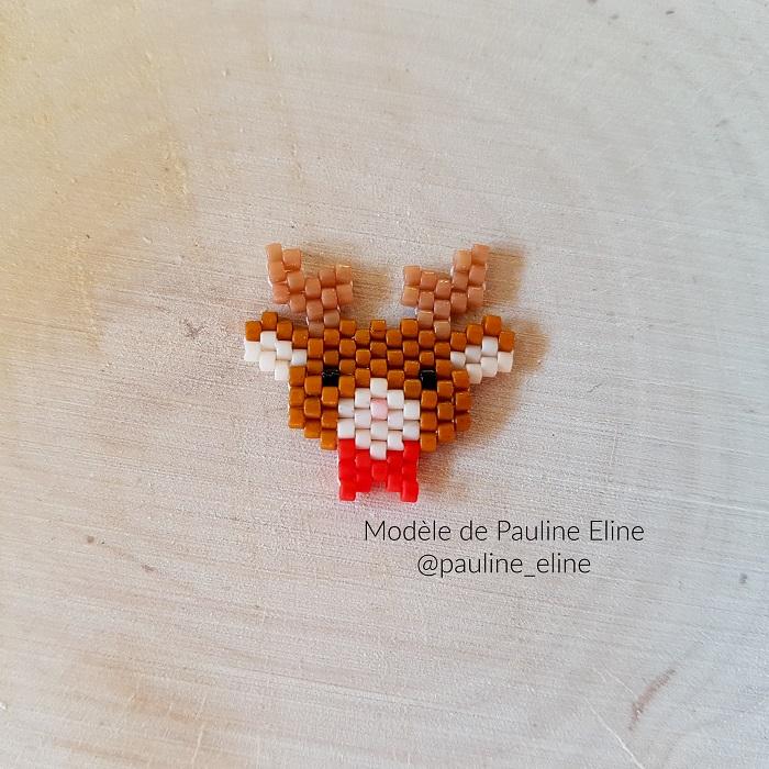 renne pauline eline, tissage brickstitch, perles delicas miyuki, hellocestmarine