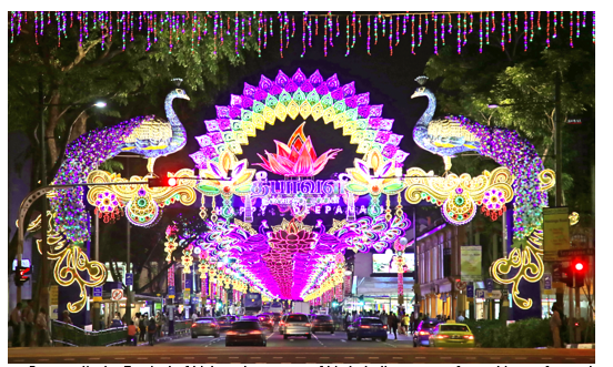 To celebrate Deepavali, the Festival of Lights, the streets of Little India are transformed into a fantasyland of colourful arches and stunning lights.