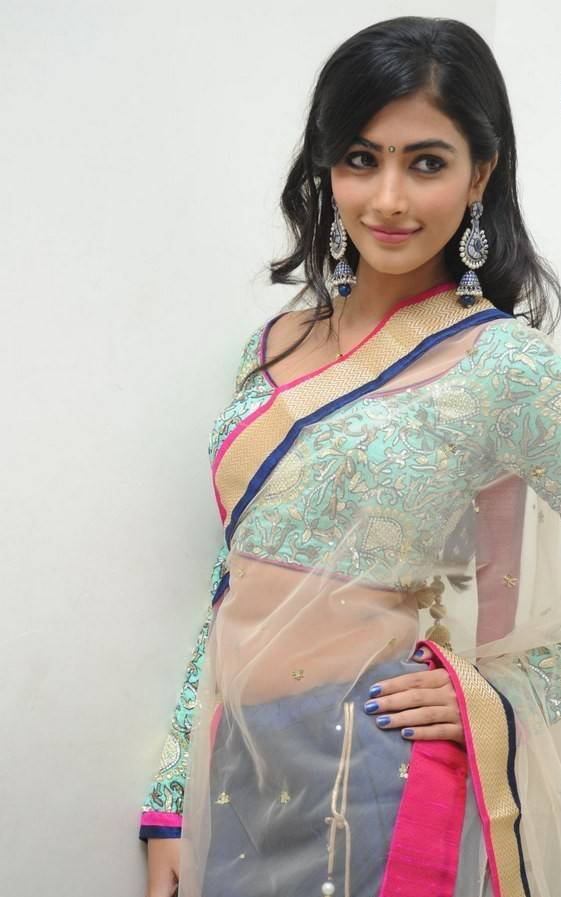 Glamours Indian Girl Pooja Hegde Hot In Blue Half Saree At Audio Launch