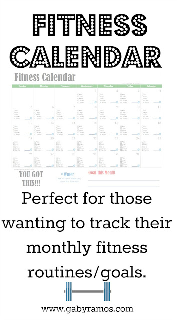 Printable Fitness Calendar for June via www.gabyramos.com