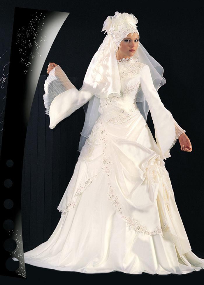 Modern Muslim Wedding Dresses Design With Veil