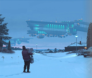 A person in winter coat and hat walking through the snow towards his or her house carrying groceries, who has stopped to look at the two large gauss freighters passing by in the sky. They both look like futuristic cargo spacecraft floating a few hundred meters off the ground, with lots of discs sticking out from the bottom.