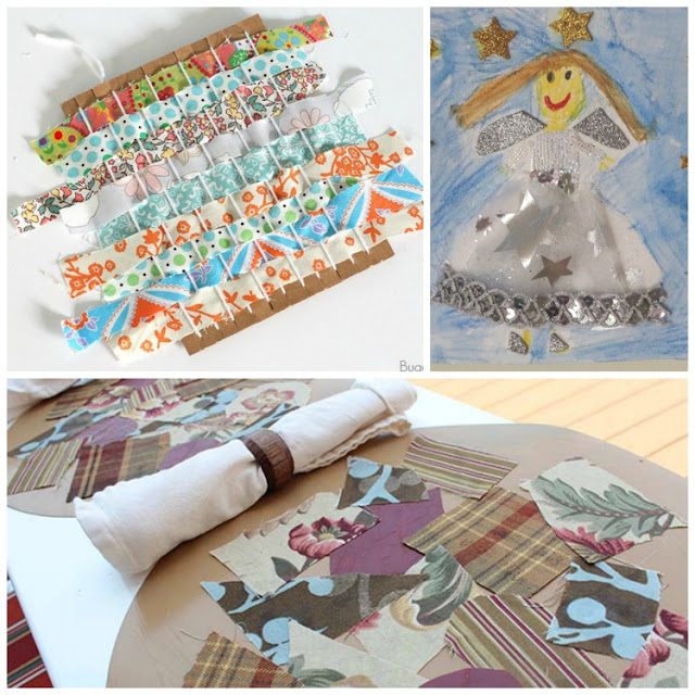 Fabric scrap crafts and activities for kids. Kids love fabric!  Plan one of these fun art projects for your preschool, kindergarten, or elementary child.